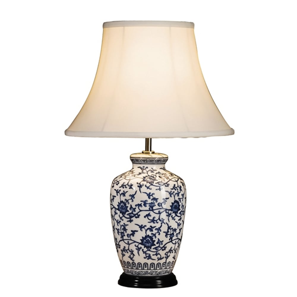 Elstead Lighting Blue And White Ginger Jar Table Lamp Shade Included
