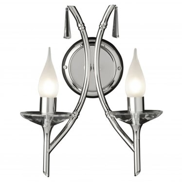 Brightwell 2 Light Wall Fitting - Polished Nickel