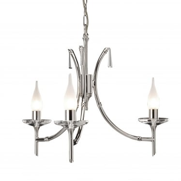 Brightwell 3 Light Chandelier - Polished Nickel