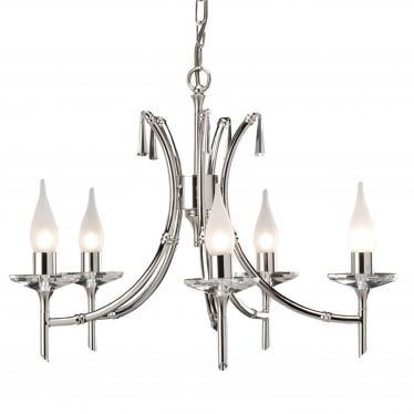 Brightwell 5 Light Chandelier - Polished Nickel