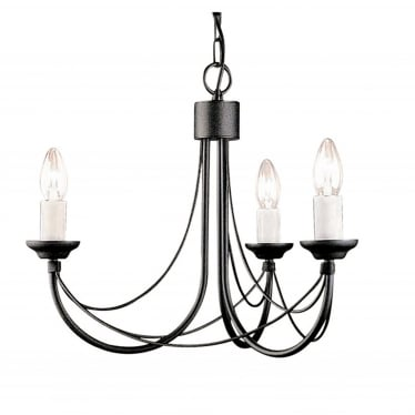 Carisbrooke 3 Light Chandelier - Black