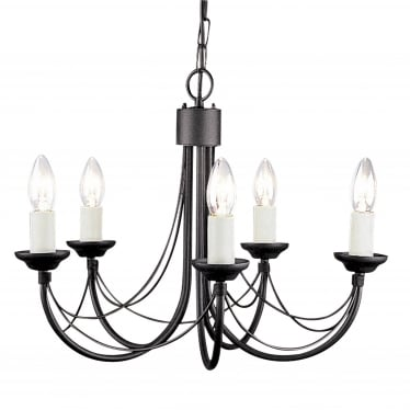 Carisbrooke 5 Light Chandelier - Black