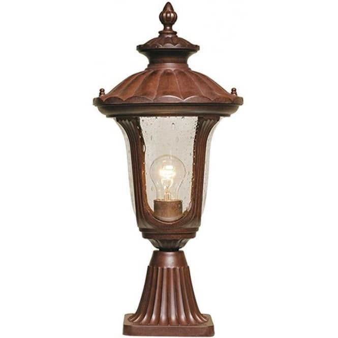 Elstead Lighting Chicago Pedestal Lantern Small - Rusty Bronze