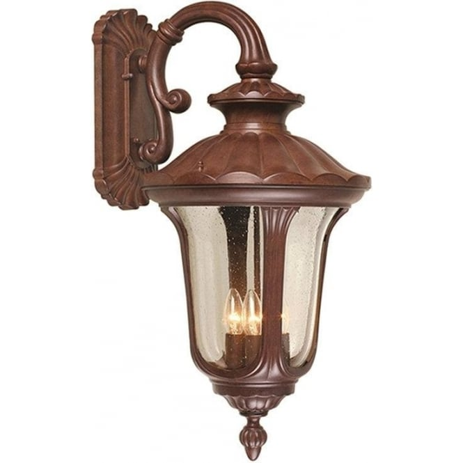 Elstead Lighting Chicago Wall Down Lantern Large - Rusty Bronze