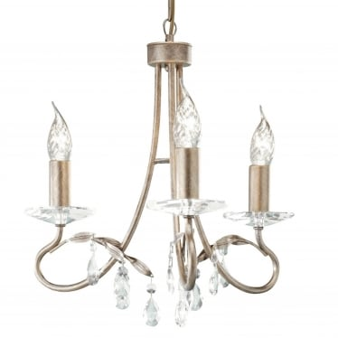 Christina 3 Light Chandelier - Silver/Gold