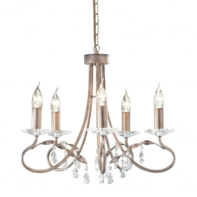 Elstead Lighting Christina 5 Light Chandelier - Silver/Gold