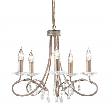 Christina 5 Light Chandelier - Silver/Gold