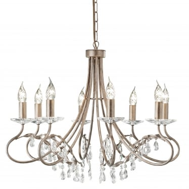 Christina 8 Light Chandelier - Silver/Gold