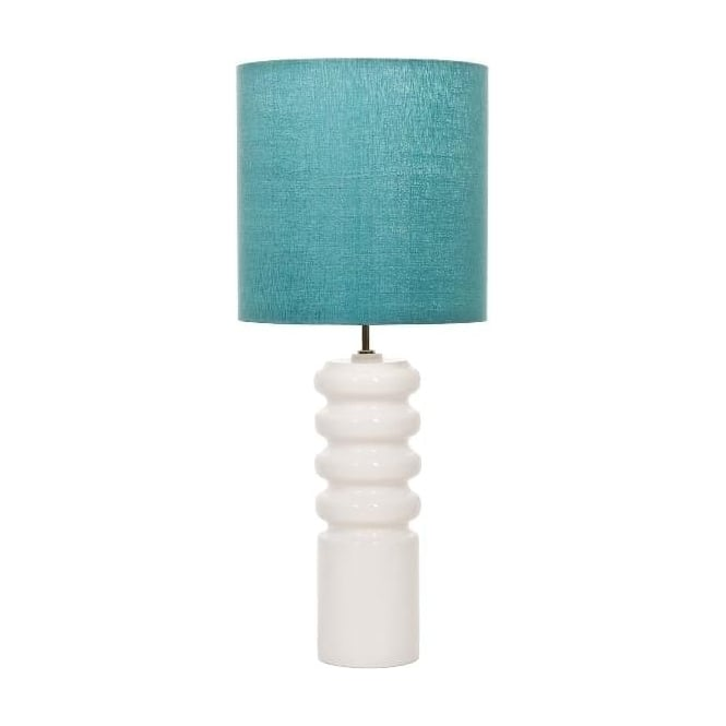 Elstead Lighting Contour White Table Lamp with Marine Shade