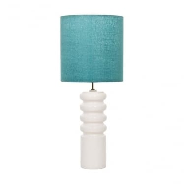 Contour White Table Lamp with Marine Shade