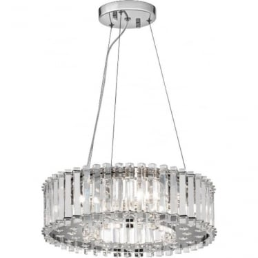 Crystal Skye 6 Light Bathroom LED Pendant IP44 Polished Chrome