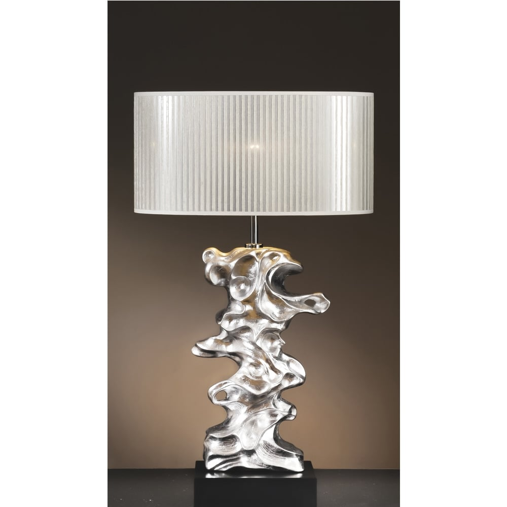 DISC Luiu0026#039;s Collection Libero Silver Leaf Table Lamp   Base Only
