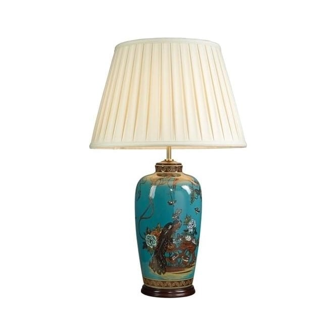 Elstead Lighting DISC - Lui's Collection Turquoise Peacock Table Lamp - Base only