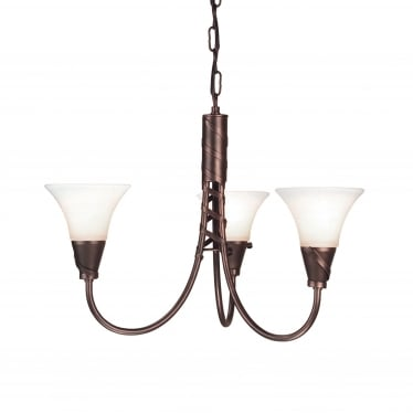 Emily 3 Light Chandelier - Copper Patina