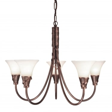 Emily 5 Light Chandelier - Copper Patina