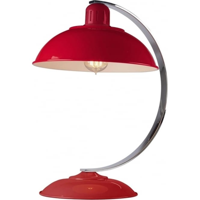 Elstead Lighting Franklin Red Table Lamp Polished Chrome