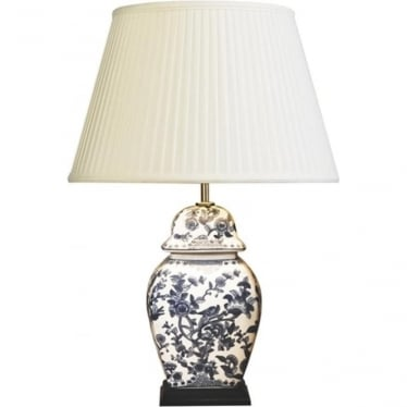 Lui's Collection Blue and White Floral Temple Jar Table Lamp