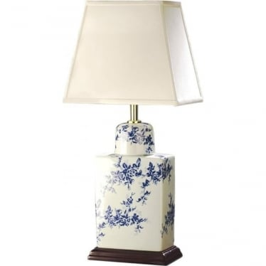 Lui's Collection Blue Flower Tea Caddy Table Lamp - Base only
