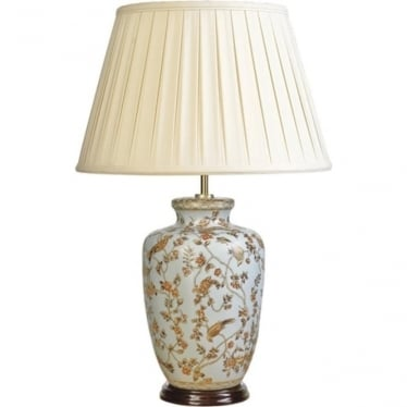 Lui's Collection Gold Birds and Berries Blue Lamp