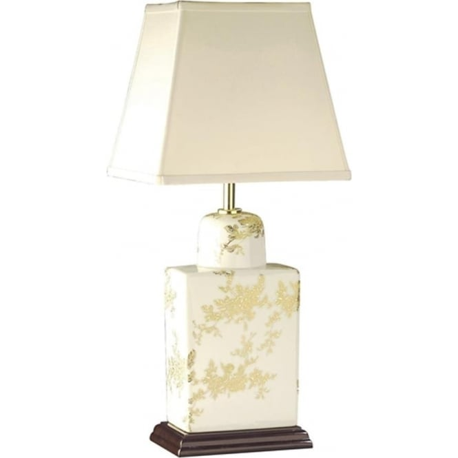 Elstead Lighting Lui's Collection Gold Flower Tea Caddy Table Lamp