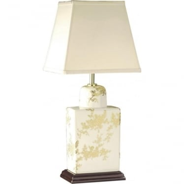 Lui's Collection Gold Flower Tea Caddy Table Lamp