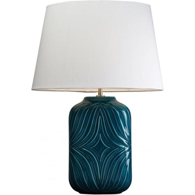 Elstead Lighting Lui's Collection Muse Turquoise Lamp with Off White Shade