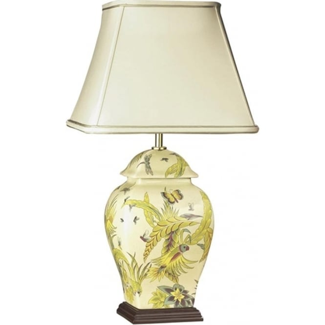 Elstead Lighting Lui's Collection Parrot Yellow and Green Temple Jar Lamp