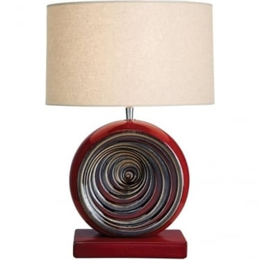 Lui's Collection Red and Beige Swirl Lamp