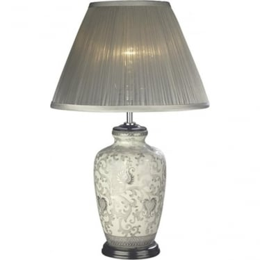 Luis collection silver thistle table lamp base only elstead lighting