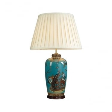 Lui's Collection Turquoise Peacock Table Lamp