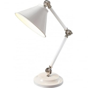 Provence Element Mini Table Lamp White/Polished Nickel