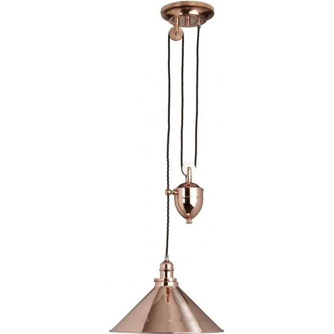 Elstead Lighting Provence Rise and Fall Pendant Polished Copper