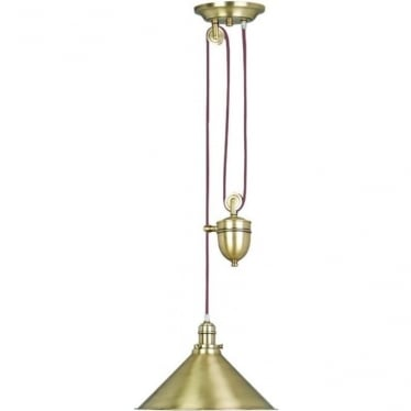 Provence Single light Rise and Fall Pendant Aged Brass