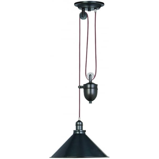 Elstead Lighting Provence Single light Rise and Fall Pendant Old Bronze
