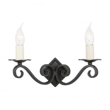 Rectory 2 Light Wall Fitting - Black
