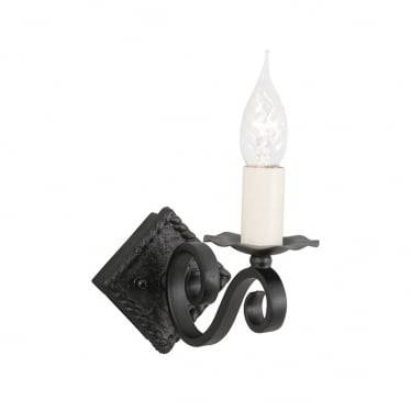 Rectory Single Light Wall Fitting - Black