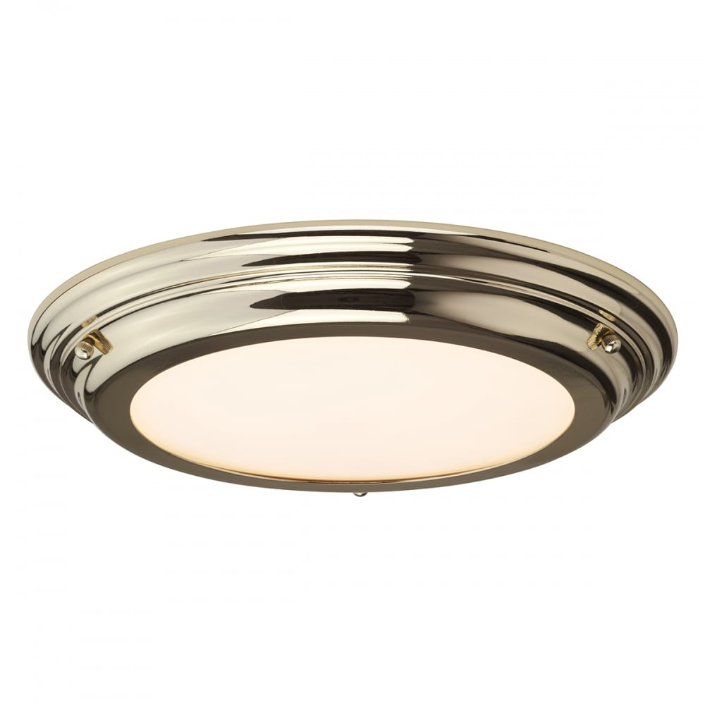 newest 17466 9c1b5 Welland-Flush-Mount-BATHroom-LED-Ceiling-Light-IP54-Polished-BRass--Standard