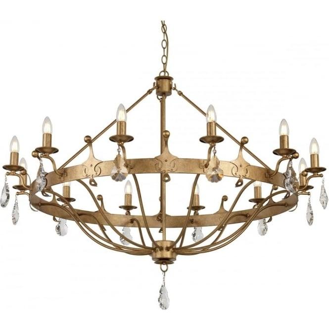 Elstead Lighting Windsor 12 Light Chandelier Gold Patina