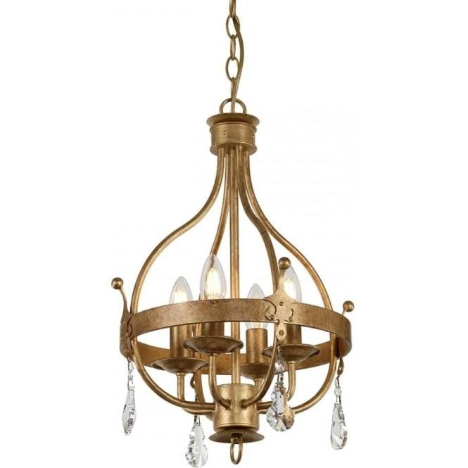 Elstead Lighting Windsor 4 Light Pendant Gold Patina