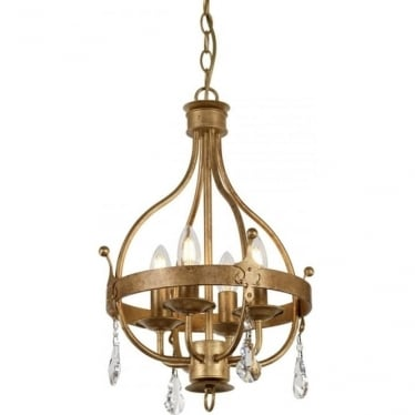 Windsor 4 Light Pendant Gold Patina