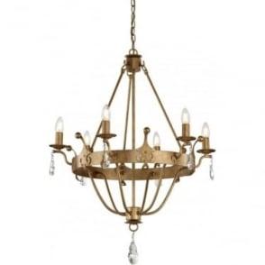Windsor 6 Light Chandelier Gold Patina