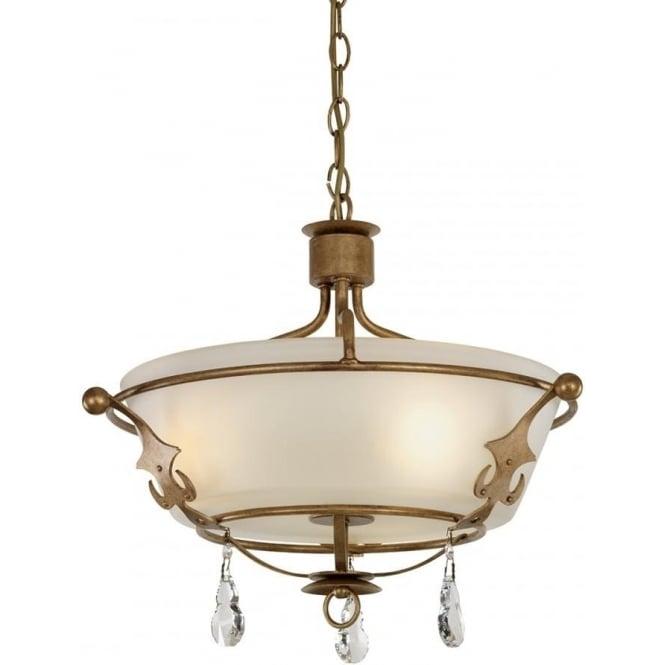 Elstead Lighting Windsor Semi Flush Ceiling Light Gold Patina