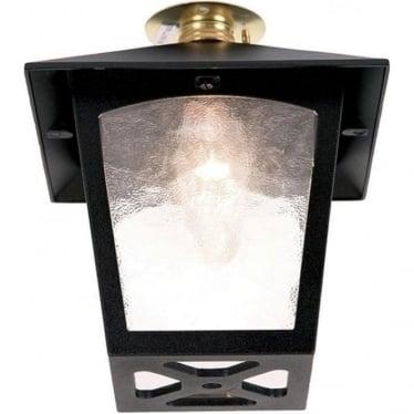York Flush Porch Lantern - Black