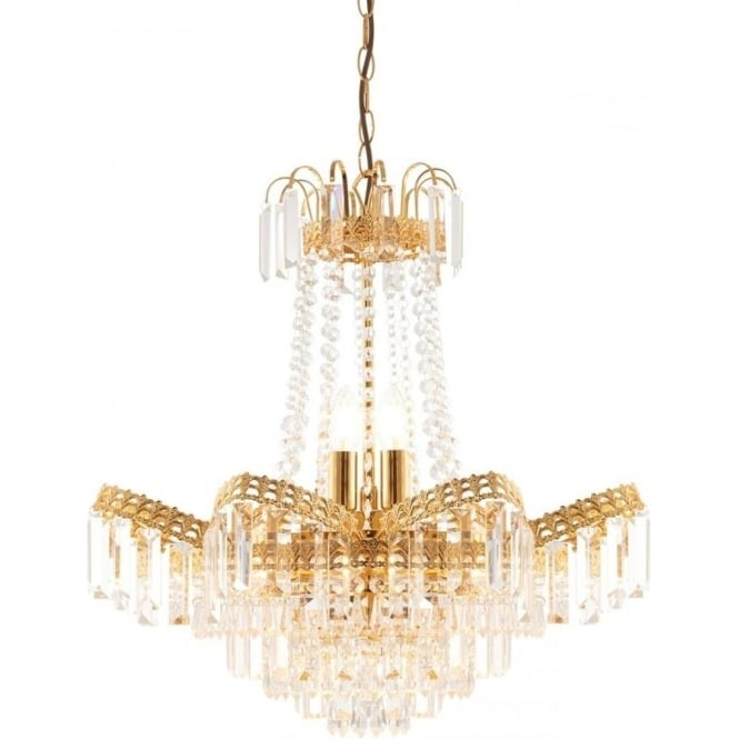 Endon Lighting Adagio 9 light pendant - Clear faceted glass & gold effect