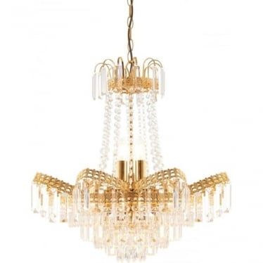 Adagio 9 light pendant - Clear faceted glass & gold effect