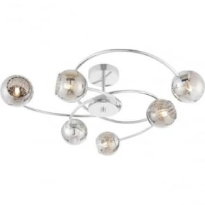 Aerith 6 light semi flush fitting - Chrome plate & smokey mirror tinted glass with aluminium wire inner