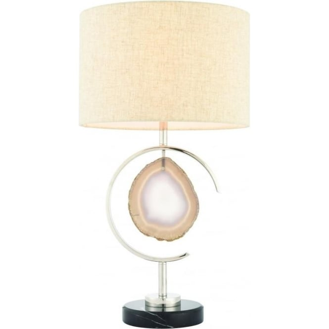 Endon Lighting Agate table lamp - black marble, polished nickel & agate stone with natural linen mix shade