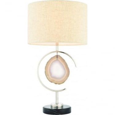 Agate table lamp - black marble, polished nickel & agate stone with natural linen mix shade