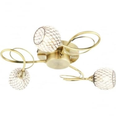 Aherne 3 light semi flush fitting - Antique brass plate & clear beads
