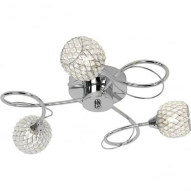 Aherne 3 light semi flush fitting - Chrome plate with clear glass & chrome wire